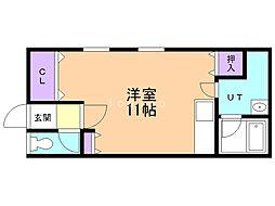 レジデンスA&U 1階ワンルームの間取り
