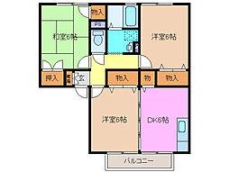 メゾンベール・コーヤ C[2階]の間取り