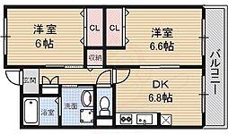 南海高野線 萩原天神駅 徒歩17分の賃貸マンション 3階2DKの間取り