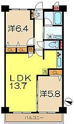 ビューヒルズ東戸塚壱番館[2階]の間取り