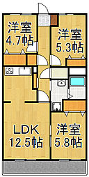 ランドロードU A棟[3階]の間取り