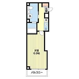 マール武蔵小杉 4階1Kの間取り