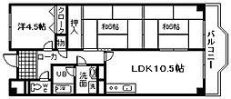 グランディール岸和田[3階]の間取り