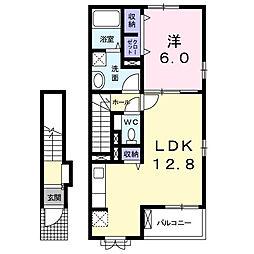 JR中央本線 塩崎駅 徒歩36分の賃貸アパート 2階1LDKの間取り