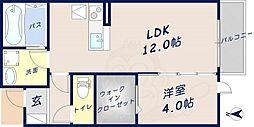 ピノ ハーモニー和A棟 1階1LDKの間取り
