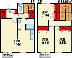 [テラスハウス] 福岡県北九州市小倉南区南方5丁目 の賃貸【/】の間取り