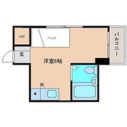 近鉄奈良線 富雄駅 徒歩16分の賃貸マンション 3階ワンルームの間取り