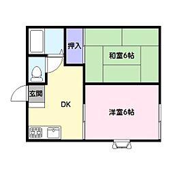 シャトル富士見[1階]の間取り