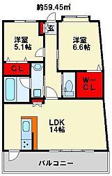 サンヒルズアネックス[2階]の間取り