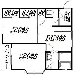 静岡県浜松市中区葵東2丁目の賃貸アパートの間取り