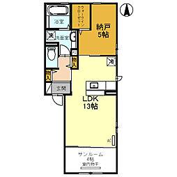 南海高野線 初芝駅 徒歩13分の賃貸アパート 2階1LDKの間取り