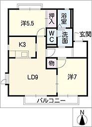 クレール三好ヶ丘B[2階]の間取り