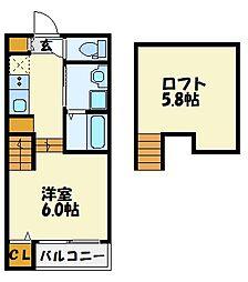 福岡県福岡市博多区竹下1丁目の賃貸アパートの間取り