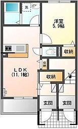 埼玉県川越市笠幡の賃貸アパートの間取り