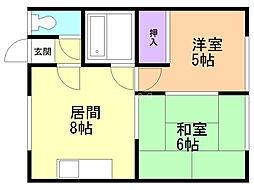 理寛寺八条マンション 2階2LDKの間取り