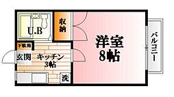 JR可部線 可部駅 徒歩16分の賃貸アパート 2階1Kの間取り