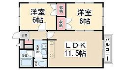 ウッディーパル萩原[2階]の間取り