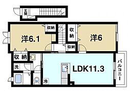 クラージュ 2階2LDKの間取り