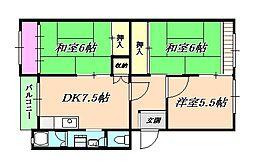 星陵台住宅[2階]の間取り