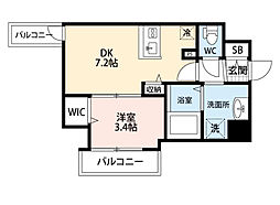 JR東海道・山陽本線 東淀川駅 徒歩2分の賃貸マンション 8階1DKの間取り