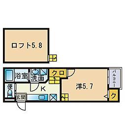 アンピオ次郎丸弐番館 1階1SKの間取り