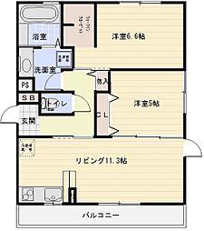 セジュール東太子[3階]の間取り