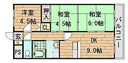 オルゴグラート東大阪[504号室]の間取り