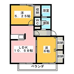 ドエルB[2階]の間取り