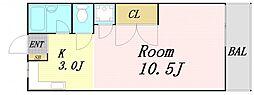 中村ビルマンション 3階ワンルームの間取り