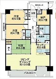 ライオンズマンション徳島富田橋[205号室]の間取り