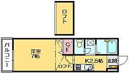 福岡県糟屋郡篠栗町大字篠栗の賃貸アパートの間取り