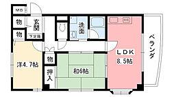 兵庫県西宮市大畑町の賃貸マンションの間取り