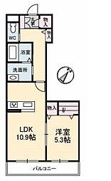 JR宇野線 妹尾駅 徒歩19分の賃貸アパート 3階1LDKの間取り