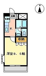香川県丸亀市柞原町の賃貸マンションの間取り