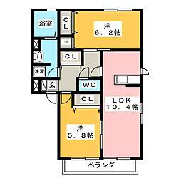 サンハイツ B[2階]の間取り