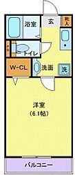 小田急江ノ島線 湘南台駅 徒歩6分の賃貸マンション 2階1Kの間取り