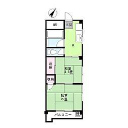 平川マンション[401号室]の間取り