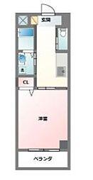 沖縄都市モノレール 安里駅 徒歩20分の賃貸マンション 2階1Kの間取り