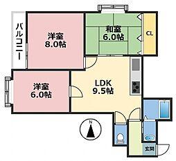 クイーンライフIMAZU 6階3LDKの間取り