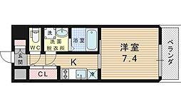 ブランTAT福島 5階1Kの間取り
