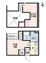 福岡市地下鉄七隈線 野芥駅 徒歩5分の賃貸アパート 2階1SKの間取り