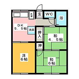 ファミーユニシウラ[1階]の間取り