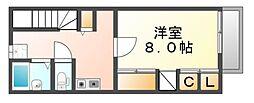 広島県福山市三吉町5丁目の賃貸アパートの間取り