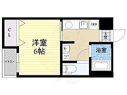 阪神本線 久寿川駅 徒歩5分の賃貸アパート 1階1Kの間取り