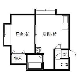 北海道札幌市清田区北野二条3丁目の賃貸アパートの間取り