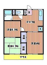 サンコーハイツE[1階]の間取り