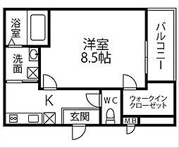 仮称)フジパレス千代田五丁目 2階1Kの間取り