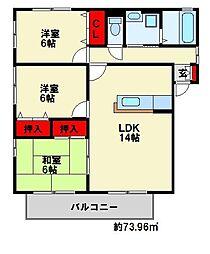 福岡県北九州市八幡西区北筑1丁目の賃貸アパートの間取り