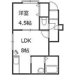 北海道札幌市豊平区美園六条8丁目の賃貸アパートの間取り
