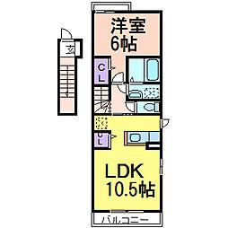 栃木県鹿沼市下田町2の賃貸アパートの間取り